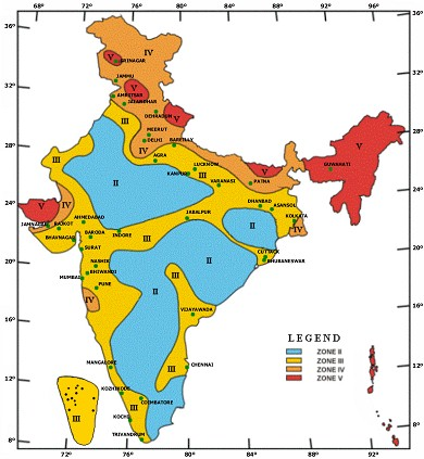 Seismic Map Of India Seismic Zone Map of India